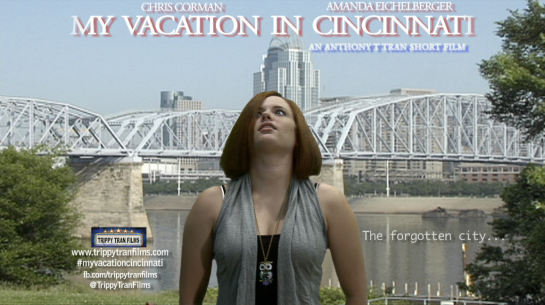 MVIC Promo Still - Amanda Large - My Vacation IN Cincinnati  with logo