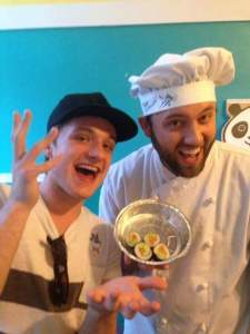 Chef Dan and Josh Hutcherson for Panda Chefs